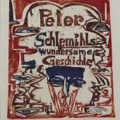 """Ernst Ludwig Kirchner: """"Peter Schlemihls wundersame Geschichte"""" Titelblatt, 1915 Hoozschnitt in Rot, Blau und Braun 29, 3 x 26, 3 cm Inv.-Nr. F 122 a, Dube H 262 Brücke-Museum Berlin Karl und Emy Schmidt-Rottluff Stiftung"""