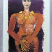 Elvira Bach, Weiblicher Akt mit Kette, Unikat von 1991,  Galeriepreis: EUR 16800,- VG BILD-KUNST Limit:: 20 €