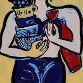 Elvira Bach Küchendiva Farbserigrafie, 1990. 40,8 x 29,2 cm Galeriepreis: € 700 Aufrufpreis: € 20