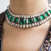 Formerly from the Collection of Hélène Beaumont Magnificent and highly important emerald and diamond necklace, circa 1935 Estimate : CHF 2,985,000 – 3,980,000 / USD 3,000,000 – 4,000,000