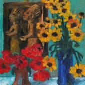 Emil Nolde Holzplastik und Blumen 1928 | Öl auf Holz 88,5 x 73,5cm Ergebnis: 553.500 Euro