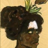 Bildnis eines Mannes aus Melanesien mit weiß bemalter Stirn und Blütenschmuck im Haar, 1913/14 Aquarell und Deckweiß, hellbraunes Reispa- pier, 49,1 x 37,3 cm © Nolde Stiftung Seebüll bpk / Kupferstichkabinett, SMB Foto: Reinhard Saczewski