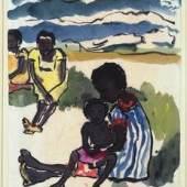 Gruppe von Frauen mit Kindern am Strand (Melanesien), 1914 Aquarell und Pinsel in Schwarz, dünnes Japanpapier, 44,9 x 35,4 cm © Nolde Stiftung Seebüll bpk / Kupferstichkabinett, SMB Foto: Jörg P. Anders