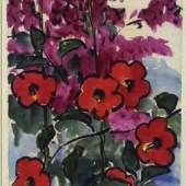 Rote Blüten (Hibiscus und Bougainvil- lea), 1914 Aquarell und Pinsel in Schwarz, dünnes Japanpapier, 46 x 33,5 / 34,4 cm © Nolde Stiftung Seebüll bpk / Kupferstichkabinett, SMB Foto: Jörg P. Anders