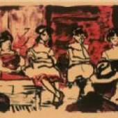 Emil Nolde Tingel-Tangel II., 1907 Farblithographie, Tusche, Pinsel, dreifarbig (Dunkelblau, Rot, Violett), Bild: 32,5 x 48,5 cm, Blatt: 43,1 x 61 cm, Probedruck © Nolde Stiftung Seebüll bpk / Kupferstichkabinett, SMB Foto: Jörg P. Anders