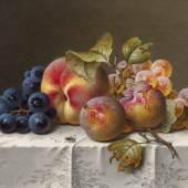 Emilie Preyer  Stillleben mit Trauben und Pfirsichen  Öl auf Leinwand   17,3 x 23,3cm  Schätzpreis: 20.000 –  25.000 Euro