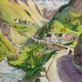 Erich Heckel Straße in den Pyrenäen 1929 | Tempera/Lw, üb. Sperrholz gespannt | 83,5x96,5cm  Taxe: €40.000 – 60.000