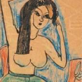 Erich Heckel (Doebeln 1883 - 1970 Radolfzell) Kuenstlerpostkarte 'Frau bei der Toilette', 1911,