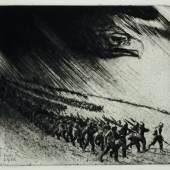 Vormarsch Erich Erler, 1915, Radierung, 32,4 x 35,1 cm, © LETTER Stiftung, Köln