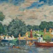 Ernst Eitner (Hamburg 1867 - Hamburg 1955) Stadtparkwiese Öl/Karton, 39 x 51 cm, r. u. sign. E. Eitner. - Deutscher Maler u. Graphiker. Mindestpreis:4.500 EUR