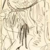 Kirchner, Ernst  Ludwig 1880 Aschaffenburg - 1938 Frauenkirch/Davos. Bleistiftskizze/Papier. Paar im Park. Um 1912. (Leicht gewellt, Lichtränder, leichte Knickfalten). Verso Klebeetikett: Galerie Pudelko, Bonn. 20,5 x 17 cm. Pass. R.  Limit: 1.500,- €