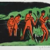 Ernst Ludwig Kirchner, Mit Schilf werfende Badende, 1910, Farbholzschnitt