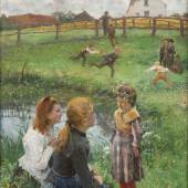 Evariste Carpentier (1845 - 1922 )  Games Around The Small Pond  Oil on canvas: 73 x 60.5 cm / 28.7 x 23.8 ins  Signed lower right   Berko Fine Paintings