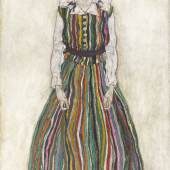 Egon Schiele, Edith Schiele im gestreiften kleid, 1915 Öl auf Leinwand 180,2 x 110,1 cm