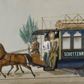 Pferdetramway Schottenring–Dornbach,1868 Aquarell © Wien Museum