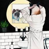 Deborah Sengl, Eyes wide shot (Badezimmer), Acryl auf Leinwand, 40 x 50 cm, 2020