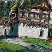 Christopher Lehmpfuhl, Fachwerkhaus Blaubeuren, 2012, Öl auf Leinwand, 60 x 60 cm