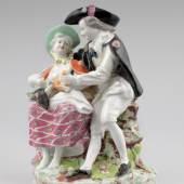 Kaiserliche Porzellanmanufaktur Wien Familie im Jakobspilgerkostüm, um 1765 Unterglasurblauer Bindenschild, Malernummer: 24, Höhe 19,5 cm Sammlung Elisabeth Sturm-Bednarczyk