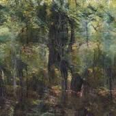 Jungle Memory  2020, Andreas Greiner. Bild erstellt mit einer KI trainiert auf vielen Tausenden von Waldbildern aufgenommen von Andreas Greiner im Hambacher Forst und Białowieża-Nationalpark, 2019, programmiert von Daan Lockhorst © VG Bild-Kunst, Bonn 2021