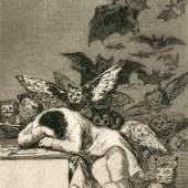 Francisco de Goya, Der Traum der Vernunft gebiet Ungeheuer, um 1799, Radierung, Papier, Ka II 634