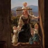 FERDINAND GEORG WALDMÜLLER Heimkehrende Mutter mit Kindern, 1863 Mother with Children Returning Home Öl auf Holz Oil on wood 53 x 41,7 cm Inv.Nr. 636