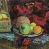 Anton Faistauer (St. Martin 1887 – 1930 Wien) Obststillleben Öl auf Karton, rechts oben signiert und datiert 1911, 39 x 48 cm  Zur Verfügung gestellt von: Antiquitäten und Bildergalerie Figl