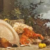 """Carl Moll (1861 – 1945) """"Stillleben mit Hummer und Früchten"""" Öl auf Leinwand, datiert 1892, 80 x 117,5 cm Das Bild wurde von Dr. Cornelia Cabuk (Belvedere) für das Werksverzeichnis C. Moll dokumentiert.  Zur Verfügung gestellt von: Antiquitäten und Bildergalerie Figl"""