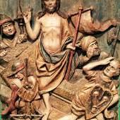 Gotisches Relief der Auferstehung Christi Lindenholz geschnitzt, Süddeutschland um 1480 H: 64 cm, B: 47,5 cm  Zur Verfügung gestellt von: Antiquitäten und Bildergalerie Figl