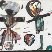 """Anselm Glück (geb. 1950) """"Wir Veitstänzer"""" Acryl auf Leinwand, signiert und datiert 1996, 80 x 100 cm © Antiquitäten & Bildgalerie Figl"""