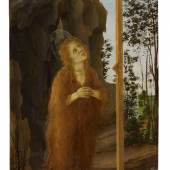 Filippino Lippi Penitent Mary Magdalene Adoring The True Cross In A Rocky Landscape possibly tempera grassa on panel, with a shaped top and a later engaged frame 28 by 15 in.; 71 by 38 cm Estimate $2/3 million