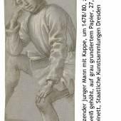 Filippino Lippi sitzender junger Mann mit Kappe beschriftet