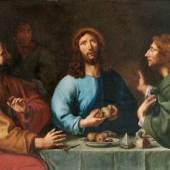 Flämischer Maler um 1620, Umkreis Abraham Janssens (um 1570 - vor 1632). Abendmahl in Emmaus. Öl/Lwd. 123 x 166 cm. R