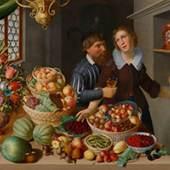 GEORG FLEGEL und wohl MARTEN VAN VALCKENBORCH  Grosses Stillleben mit Früchten, Gemüsen, Blumen und einem Paar in einem Interieur. Um 1610-15.  Öl auf Leinwand.  CHF 300 000- 500 000
