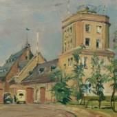 """Öl auf Leinwand, Größe 54 x 82 cm Flughafen Frankfurt am Main Rebstock, 1928, rechts unten signiert, Rückseite bezeichnet """"Eingang zum Flughafen Rebstock 1928""""   Schätzpreis von € 9.500,-"""