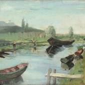 Flusslandschaft mit Booten und Fischern, 1937-44