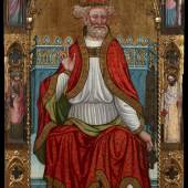 SAM FOGG, Martin del Cano (doc. 1411-21)  St Peter Enthroned, Spain, Daroca, c1420  oil, tempera and gilding on softwood panel  219 x 111 cm