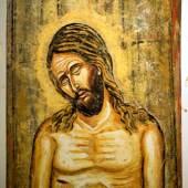 Christus in größter Erniedrigung Öl auf Papier 118 x 82 cm © Nikos Kypraios