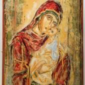 Foto 4: Hl. Maria mit Kind (Hl. Gottesmutter Eleusa) Öl auf Papier 118 x 82 cm © Nikos Kypraios