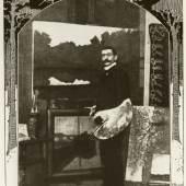 """Porträt Walter Leistikow Inschrift unter dem Foto: Aus Berliner Ateliers: Walter Leistikow bei seinem neusten Werk: """"Der Pechsee bei der Saubucht im Grunewald"""" Spezialaufnahme für die """"Woche"""" Aus: Die Woche, 1902"""