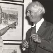 Max Ernst mit der damaligen Museumsdirektorin Dr. Irmgard Feldhaus 1961 anläßlich seiner Neusser Ausstellung in Museum am Obertor