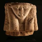 Four-sided Hathor Capital. Sandstone. Egypt, Ptolemaic Period, 332-30 B.C. 38 x 41 cm. Ancient collection M. Antonovitch, Paris, since the early 1980s. Axel Vervoordt Art & Antiques