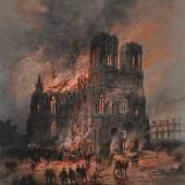 Gustave Fraipont , Brand der Kathedrale von Reims Musée des Beaux - Arts R eims