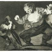 Francisco de Goya, Disparate de bobo (Torheit eines Dummkopfes), 1815-1824, Radierung und Aquatinta, aus dem Zyklus Los Disparates [4], Stadtmuseum Oldenburg
