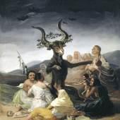 FRANCISCO DE GOYA, HEXENSABBAT (EL AQUELARRE), 1797/98 Öl auf Leinwand 43 × 30 cm Fundación Lázaro Galdiano, Madrid