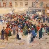 """((Bild Frank_26, Bildnachweis: Kunsthandel Decker Baden-Baden)): """"Pariser Markttreiben"""" von Lucien Frank (1857 – 1920), präsentiert auf der Antik & Kunst von der Baden-Badener Kunsthandlung Decker."""