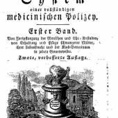 """Mit seinem monumentalen Werk """"System einer vollständigen medizinischen Polizey"""" (1779 bis 1819) schuf Johann Peter Frank die Grundlagen für die moderne Hygiene, Universitätsbibliothek der Medizinischen Universität Wien"""