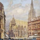 Friedrich Frank (1871 - 1945) Am Stephansplatz Aquarell/Gouache auf Papier signiert und bezeichnet, 29,8 x 23,8 cm Galerie Szaal