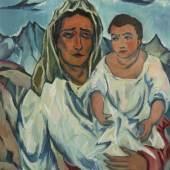 """Franz Heckendorf 1888 Berlin - 1962 München - """"Mutter mit Kind (Orientalin mit Kind)"""" - Öl/Lwd (horizontal vernäht). 80 x 70,5 cm. Aufrufpreis:4.000 EUR Schätzpreis:8.000 EUR"""