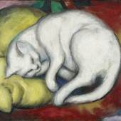 Franz Marc, Die weiße Katze, 1912, Öl auf Karton, 48,8 x 60 cm, Kulturstiftung Sachsen-Anhalt – Kunstmuseum Moritzburg Halle (Saale) © Foto: Punctum/Bertram Kober