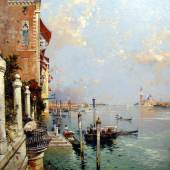 Franz Richard Unterberger (1838 - 1902)  The Bacino Di San Marco, Venice, Looking East  Signed; also inscribed verso, oil on Canvas  43¾ x 40 inches – 111.2 x 101.6 cms   MacConnal – Mason